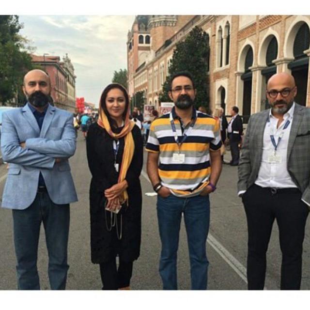 نیکی کریمی در کنار برادران جلیلوند و امیر آقایی در ونیز