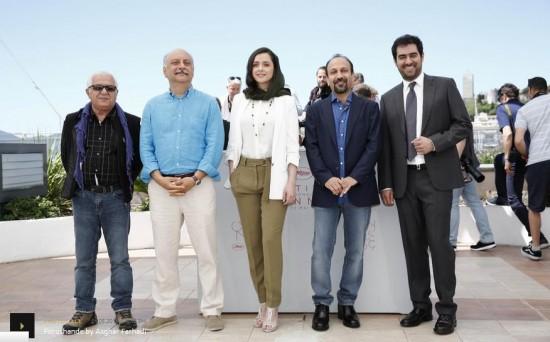 شهاب حسینی، اصغر فرهادی، ترانه علیدوستی، بابک کریمی و محمد حقیقت در جشنواره کن