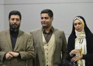 آزاده نامداری و همسرش سجاد عبادی در کنار محمدعلی آهنگران