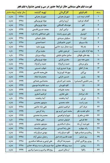 فهرست+فیلمهای+مجاز+جشنواره