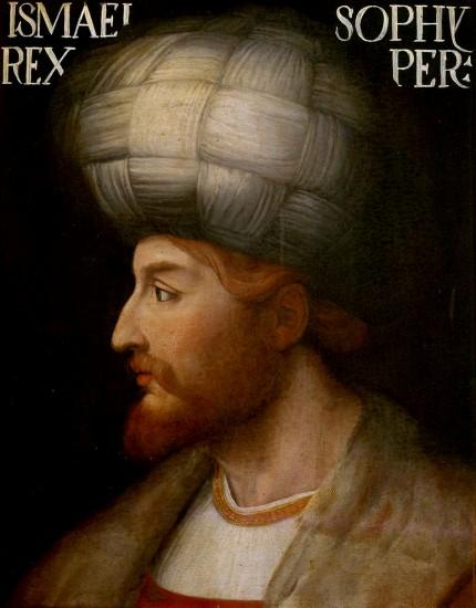 تصویری از شاه اسماعیل بزرگ از هنرمند ناشناس ونیزی در قرون وسطا، نسخه اصلی در موزه فلورانس نگهداری میشود